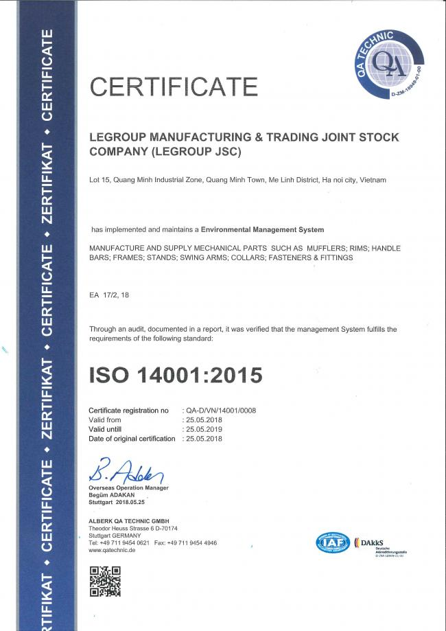 LeGroup receives updated ISO Certificate on Environmental Management System ISO14001-2015 by ALBERK QA TECHNIC GMBH.